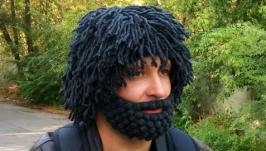 Шапка парик с бородой Мачо