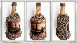 Подарок рыбаку Декор бутылки ′Рыбалка на закате′