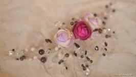 Гребень с гранатом и розовым кварцем ′Розочки′