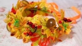 Венок веночек осенний на голову из листьев с грибами