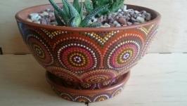 Горшок для цветов с ручной росписью, керамический вазон