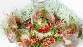 Набор – кувшин, 6 стаканов и блюдо ′King Grenades′