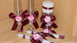 Набор (свадебные свечи  бокалы)