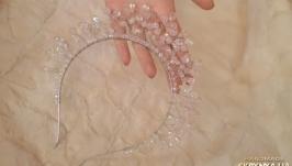 Корона, диадема из розового кварца ′Медея′