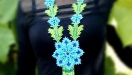 Ожерелье Синий цветок.