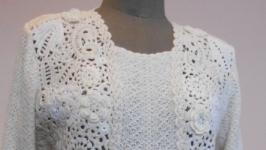 Платье льняное с отделкой крючком
