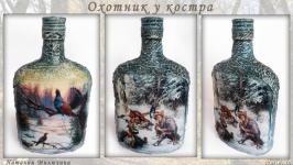 ′Охотник у костра′. Декор бутылки в подарок мужчине охотнику