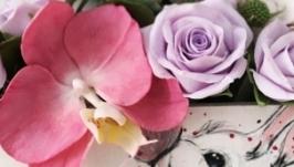 Письмо-конверт с цветами Орхидеи, роз, сирени, гортензии и листьями эвкалип