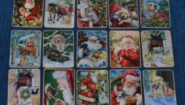 Магниты-открытки Собаки и Санты