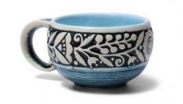 Філіжанка, декор ′Вінок′ , блакитна