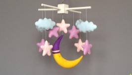 Мобіль з фетру Місяць з зірками