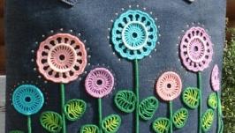 Сумка джинсовая с декором ′Кружевные цветы′