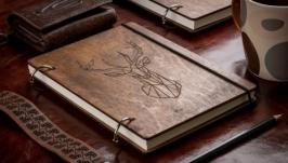 Блокнот ручной работы с деревянной обложкой