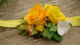 Повязка на голову ′Желтые розы′