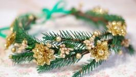 Новогодний ободок венок веночек на голову с ветками ели