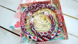 Колье и браслет ′Украинский орнамент пэчворк′