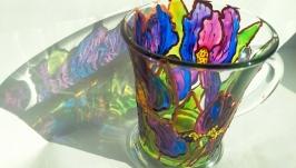Скляна чашка ′Іриси′ в техніці вітражного розпису