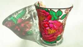 Скляна чашка ′Піони′ в техніці вітражного розпису