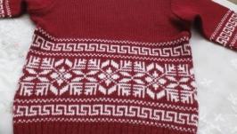 свитер для девочки с узором снежинка