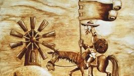 Эко-арт. Рисунок кофе ′ Дон Кихот′. Кофейный рисунок.