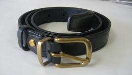 002 W B25 Женский кожаный ремень, 25 мм, темно синий, с ручной прошивкой