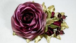 Роза с бутонами заколка