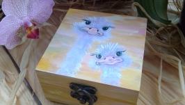 Шкатулка Страусы, масляные краски, ручная роспись