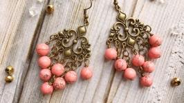 Романтичные коралловые серьги в винтажном стиле с бирюзой