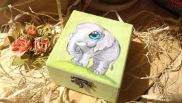 Шкатулочка Слоник, ручная роспись