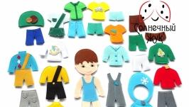 Одежда из фетра для куклы мальчика на 4 времени года