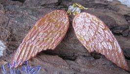 Серьги с крыльями-2, холодный фарфор