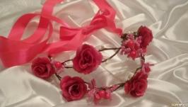Віночок діадема з трояндами фуксія