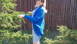 Вязаный синий кардиган ′Объятия′