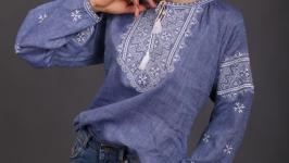 Женская вышиванка ′Твори Мир′ джинс лён белая вышивка