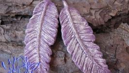 Серьги с перьями, холодный фарфор