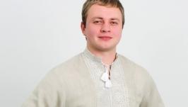 Мужская вышиванка бежевый лён белая вышивка