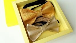 Галстук - бабочка медово-золотого цвета