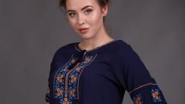 Вишиванка женская синий штапель ′Розочка Комсомольск′