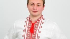 Вышиванка мужская ′Гетьман′ белый лён с красной вышивкой
