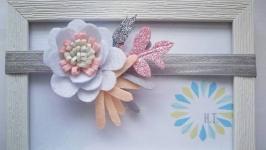 Пов′язка на голову з фетру з квітами