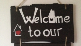 Деревянная табличка Welcome. декор дома, рустик стиль