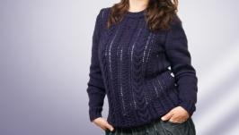Женский джемпер косами из полушерсти, фиолетовый, сливовый