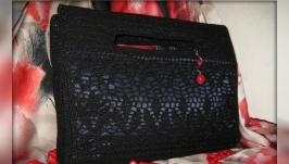 Женский вечерний клатч вязаный крючком ′Черная жемчужина′