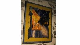 Панно из шерсти ′Ночная терасса в Арле′