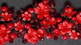 Прикраса для святкової зачіски червона 001
