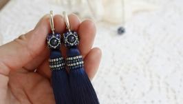 Серьги-кисти темно синие, длинные серьги