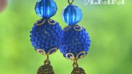 Серьги ′Крылья синей птицы′