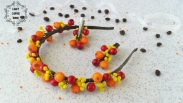 Ободок с ягодами плюс заколки, набор Осенняя нотка