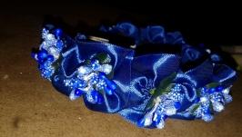 обруч-венок с атласных лент внутри цветок, с 8-ми цветами