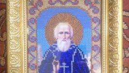 Икона бисером ′Святой Сергей Радонежский Чудотворец′